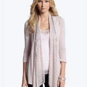 WHBM sequin front pink open cardigan size M